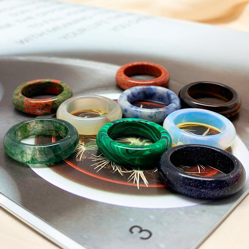 Momiji кольцо из настоящего натурального камня для женщин Опал тигровый глаз Малахит агат ювелирные изделия подарок ширина 6/8 мм внутренний ди...