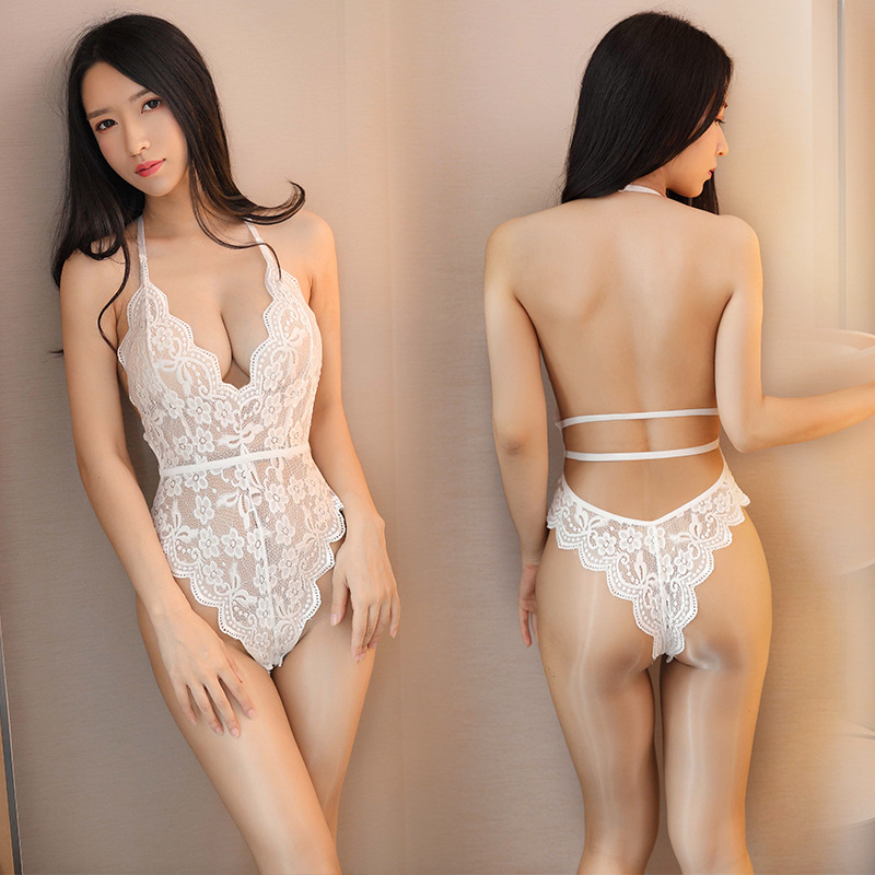 TERMEZY Backless Sexy Lace Bodysuit Transparent Female Body Sexy Teddies 2020 New Jumpsuits Women Deep V Sheer Bodysuits Floral