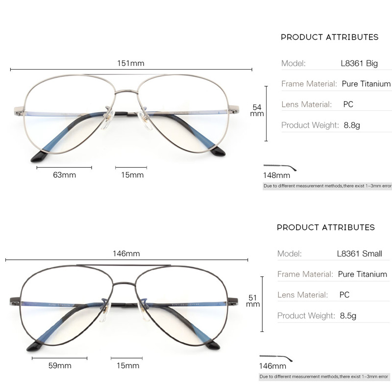 Image 5 - Pure Titanium Prescription Frame Pilot Men Oversize Eye Glasses Frame Optical Myopia Eyeglasses High quality Frame for WomenMens Eyewear Frames   -