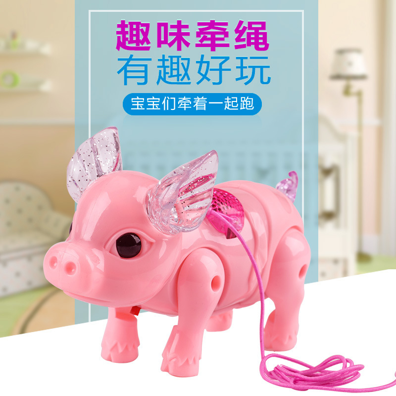 Douyin Celebrity Style Pink Leash Shining Electric Network Red Pig Toy Crawling Will Walk Run Music Small Pink Pig