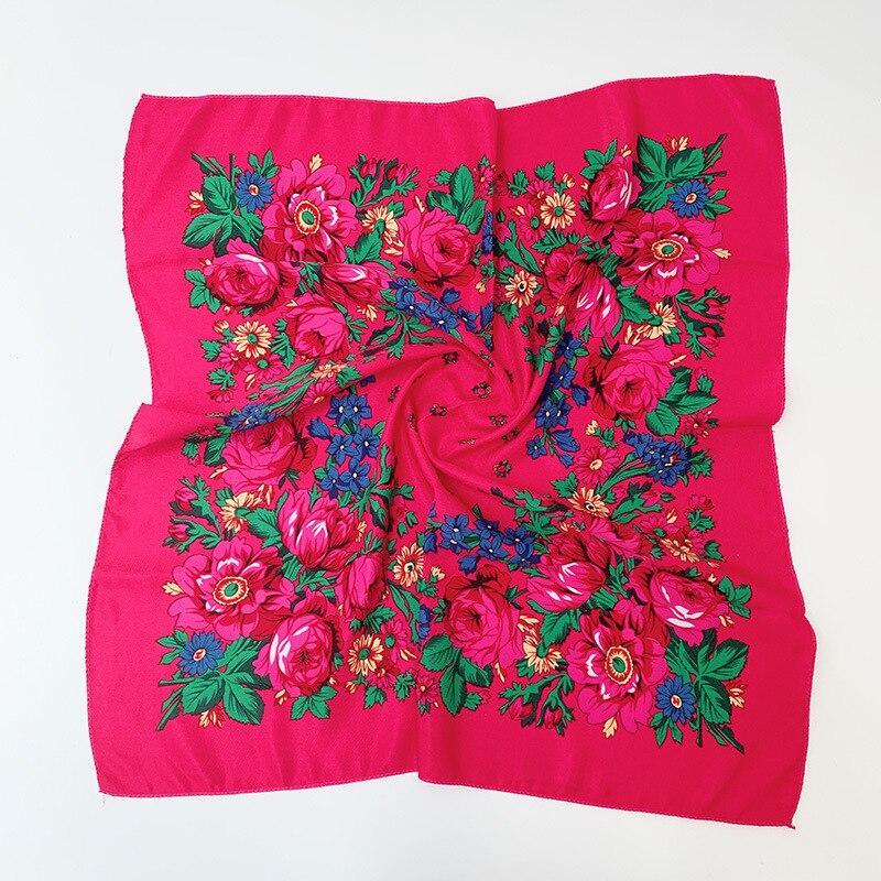 Floral Russian Scarf Luxury Flower Small Handkerchief Ethnic Shawl Women Hijab Acrylic Scarf Printed 70CM Headband Scarf Bandana