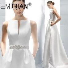 Elegant Satin Wedding Dresses A Line V Neck White Ivory Buttons Back Wedding Bridal Gown Sweep Train Vestido De Noiva