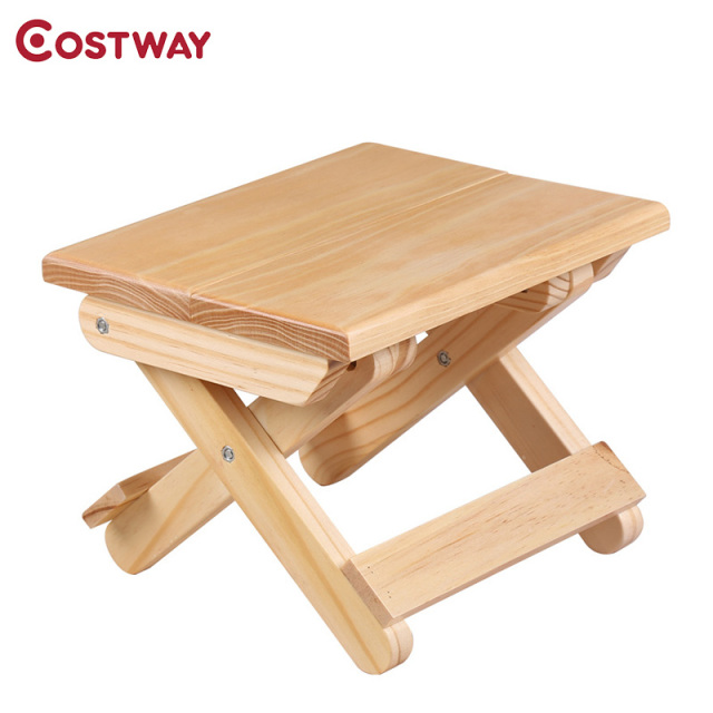 COSTWAY Portable Simple Wooden Folding Stool Outdoor Fishing Chair Small Stool W0169