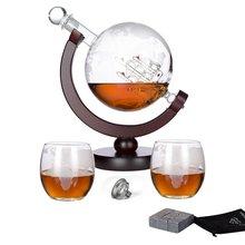 Виски Глобус графин набор с 2 Стекло чашки + 9 виски камни Нержавеющаясталь