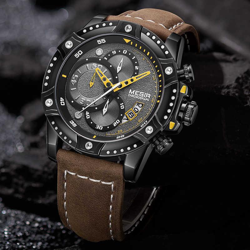 Nouveau MEGIR hommes montres bracelet en cuir sport Quartz Date horloge mode luxe marque hommes montre étanche chronographe montre-bracelet