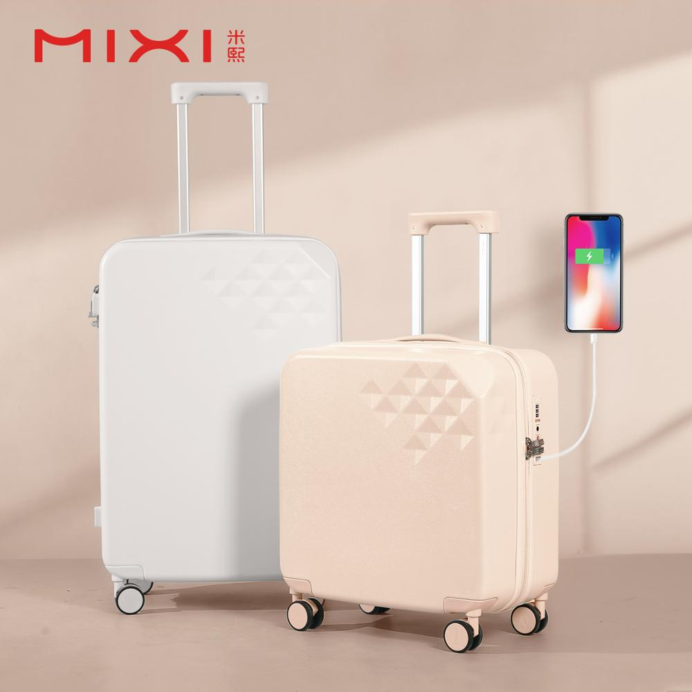 Suitcases 18 inch Leather Silent Universal Wheel Luggage,Built-in TSA Lock Boarding The Chassis
