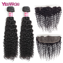 Yeswigs Kinky Curly Bundles Hair With Frontal Brazilian Remy Human Hair Bundles With Lace Closure Frontal Natural Color