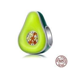 MOWIMO – breloques en argent Sterling 925 pour la fabrication de bijoux, breloques en émail vert, perles de couleur de Fruit, perles de Bracelet, BNC129