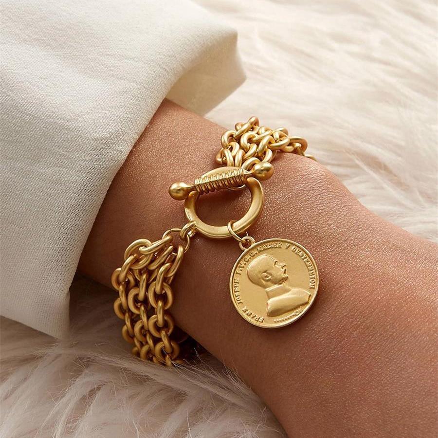 FLASHBUY braccialetti a catena con ciondoli Color oro per donna uomo ritratto in metallo braccialetti in lega di monete gioielli di moda vendita calda Pulseira 1