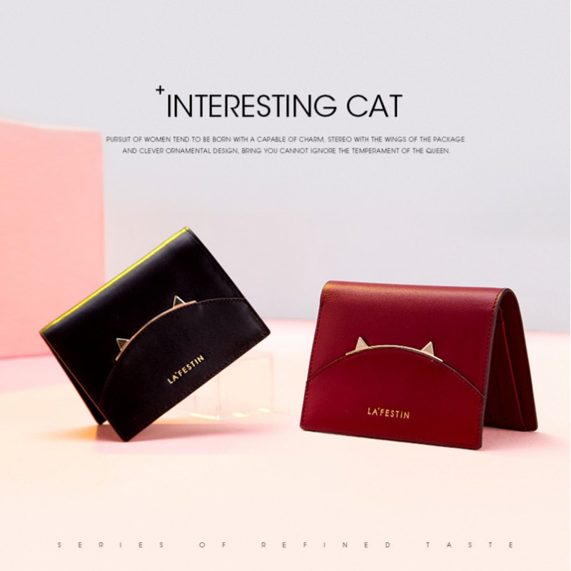 2019Cat Ear Purse Genuine Leather Women Mini Ladies Wallet Women's Wallet Carteira Feminina Womens Wallets And Purses Money Bag