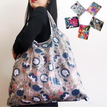 Duża torba na zakupy wielokrotnego użytku składana torba eko torby na zakupy wielokrotnego użytku nylonowa składana torba z nylonu przenośne składane torby na zakupy tanie i dobre opinie CN (pochodzenie) Poliester polyester WOMEN Floral Nie zamek shopping bag 0020 Na co dzień foldable shopping bag folding shopping bag
