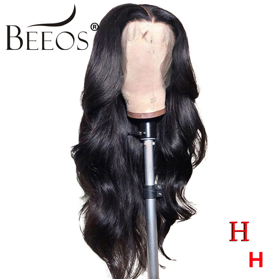 Beeos Body Wave Full Lace Human Hair Wigs 180% Brazilian Hair Natural Black Remy Human Hair Bleached Knots Pre Plucked