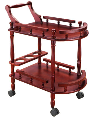 Hotel Red Wine Tea Delivery Car Double Wooden Round Wine Cart Cake Car Dessert Mobile Service Trolley