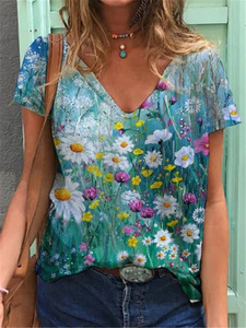 2021 New Women Abstract Printed Tops & T-Shirts V-neck Casual Short Sleeved Plus Size Loose Fashion Blouse