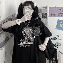 Cool Black Bear T-shirt Women Summer Punk T-shirt Female Harajuku Cartoon Rock T-shirt Hip Hop Oversized Tshirt Streetwear Girls