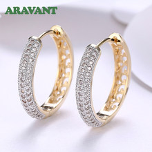 18K Gold Zirkon Runde Kreis Hoop Ohrringe Für Frauen 925 Silber Ohrring