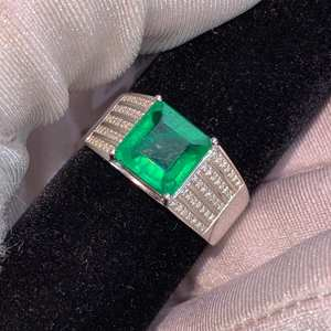 Y403 Emerald Rings Fine Jewelry 18K Gold Real Natural Green Emerald 3.1ct Gemstones Male Rings for Men's Fine Ring