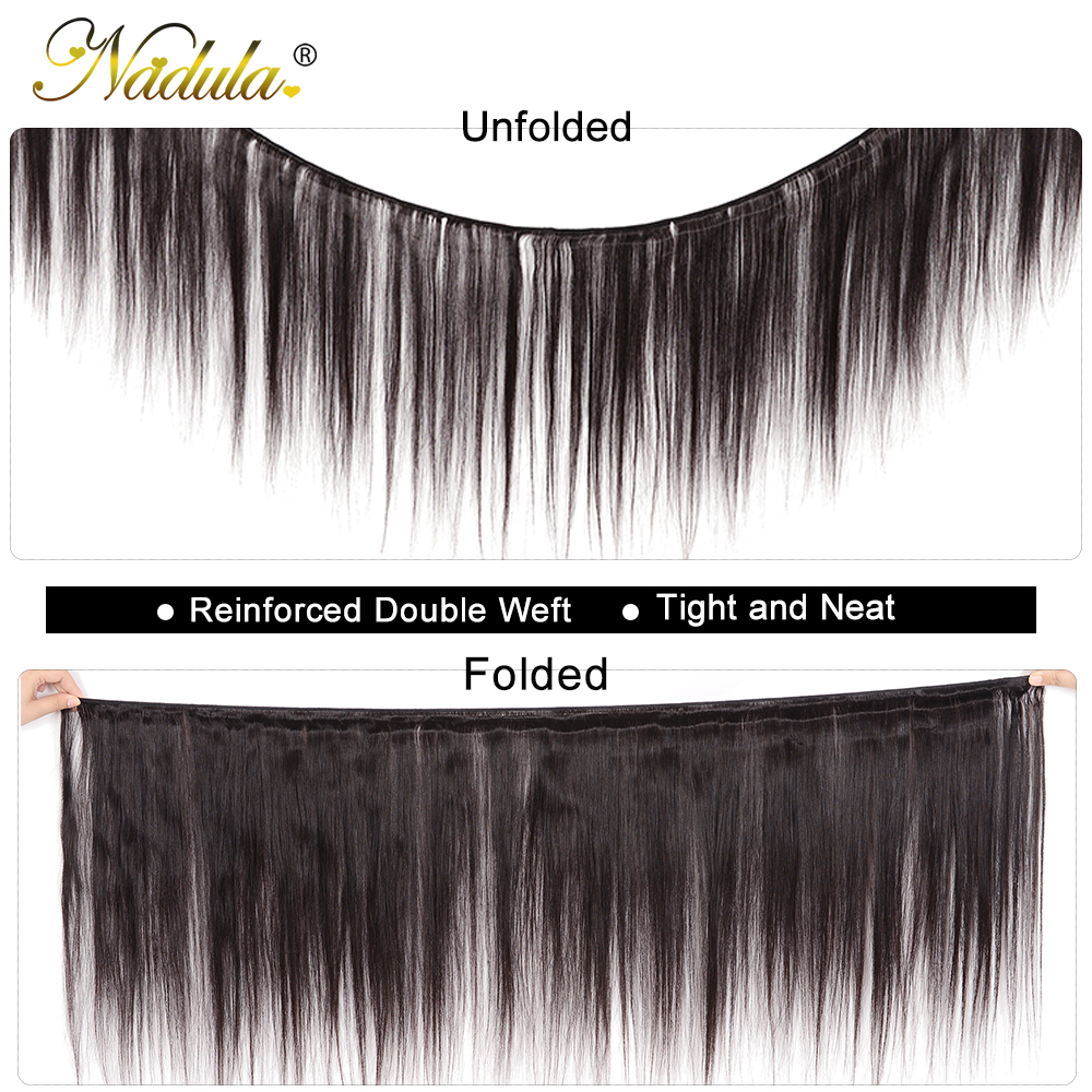 Nadula Hair Indian Straight Hair 3/4Bundles Indian Hair Straight 8-30inch 100% Remy Human Hair Weave Bundles Machine Double Weft