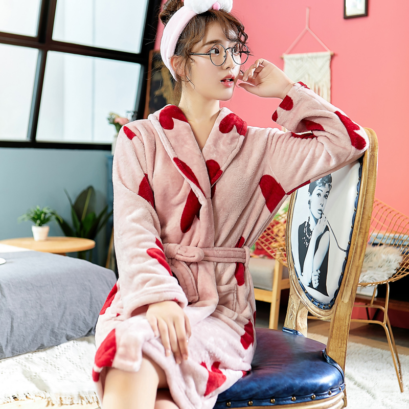 Lady Autumn New Kimono Bathrobe Gown Casual Nightwear Sleepwear With Belt Thick Flannel Nightgown Lougne Nighedress Negligee