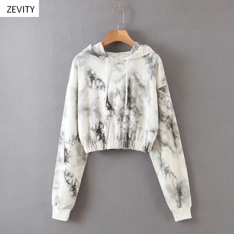 Zevity New 2020 Women Vintage Ink Tie Dyed Painting Casual Hooded Sweatershirts Ladies Hem Elastic Hoodies Brand Chic Tops H300