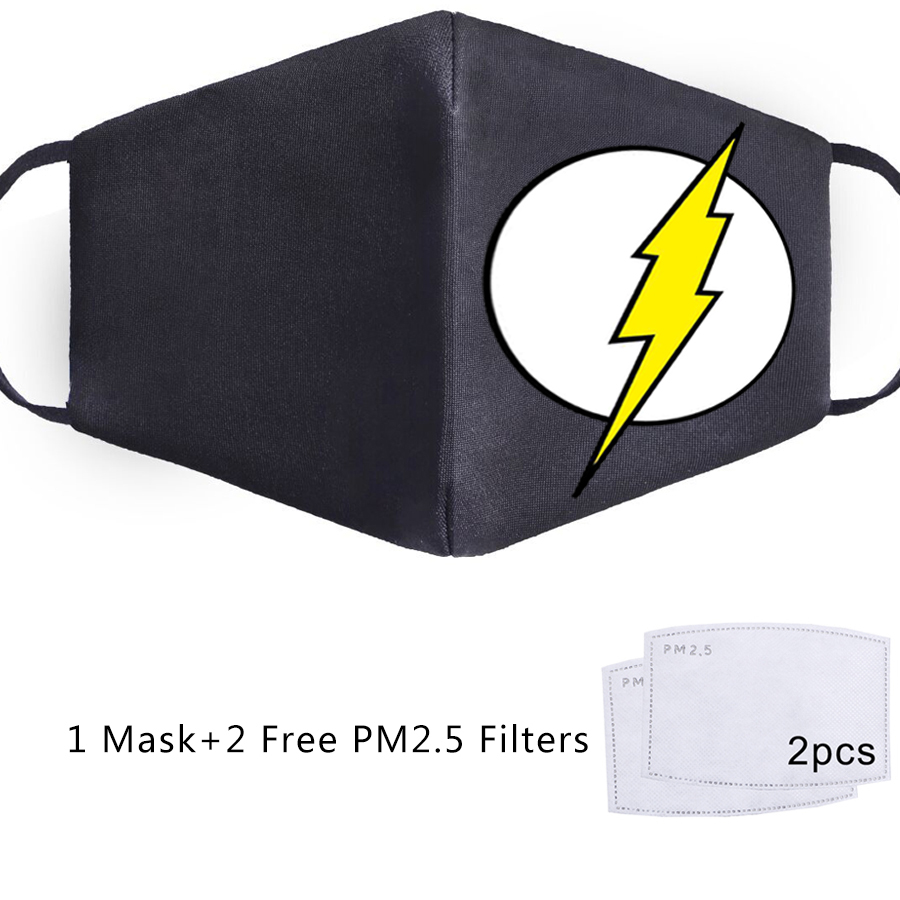 The <font><b>Flash</b></font> Super Hero <font><b>Barry</b></font> <font><b>Allen</b></font> <font><b>Flash</b></font> Masks Printed Face Mouth Mask Unisex Mascarillas Washable Mouth Muffle PM2.5 Filter Masks image