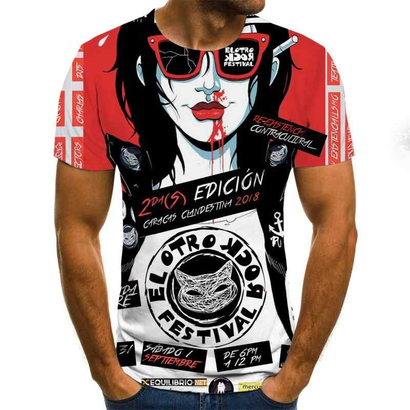 2020 メンズホラーtシャツファッション新夏メンズ半袖tシャツカジュアル 3Dゾンビ印刷ロックtシャツのため男フルプリント