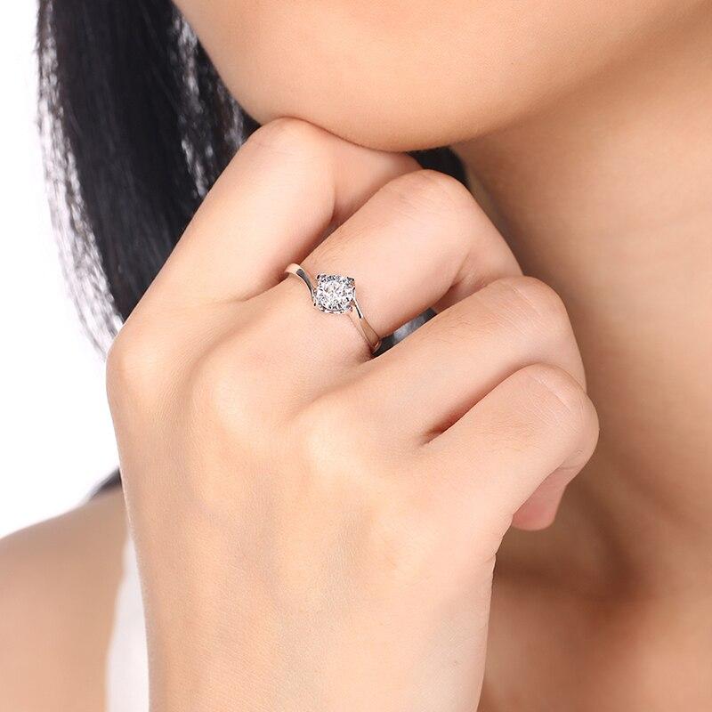 Luxus GIA Diamant Engagement Ring Solitaire Für Frauen 0.2ct Natürliche GIA Diamant Klassische Design 4 klaue Hochzeit Band - 5