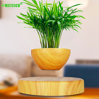 Magnetic suspension creative Flower Pot Office Fish Tank Bonsai Desktop Ornament Suspended Plant Semicircular Potted Craft Gifts