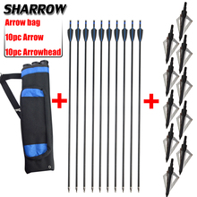 10pc Fiberglass Arrow With Broadhead And Quiver Bag Set Outdoor Hunting Shooting Bow Archery Accessories