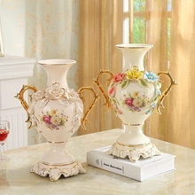 Europa pozłacana kość słoniowa waza porcelanowa Vintage zaawansowane ceramiczne wazon na kwiaty do badania pokoju przedpokój dekoracji ślubnej domu tanie tanio CN (pochodzenie) Europejska Ceramiki i porcelany Wazon na stolik Vase Height 25 5CM* width 20 5CM