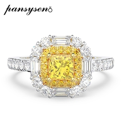 Pansysen Classic 100% 925 Sterling Zilver 4Mm Citrien Lab Moissanite Wedding Engagement Rings Vrouwen Groothandel Fijne Sieraden Ring