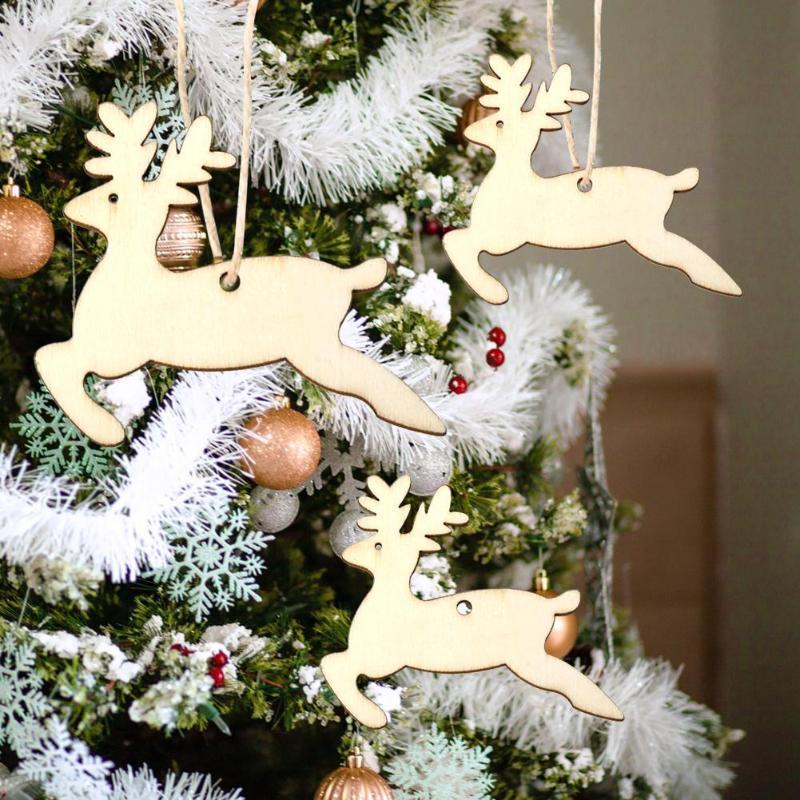 10pcs Creative Christmas Pendants Wooden Hanging Ornaments Elk Snowman Shape Decor Home Wedding Decoration