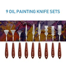 9Pcs/set Stainless Steel Spatula Kit Palette Gouache Supplies For Oil Painting Knife Fine Arts Painting Tool Set Flexible Blades