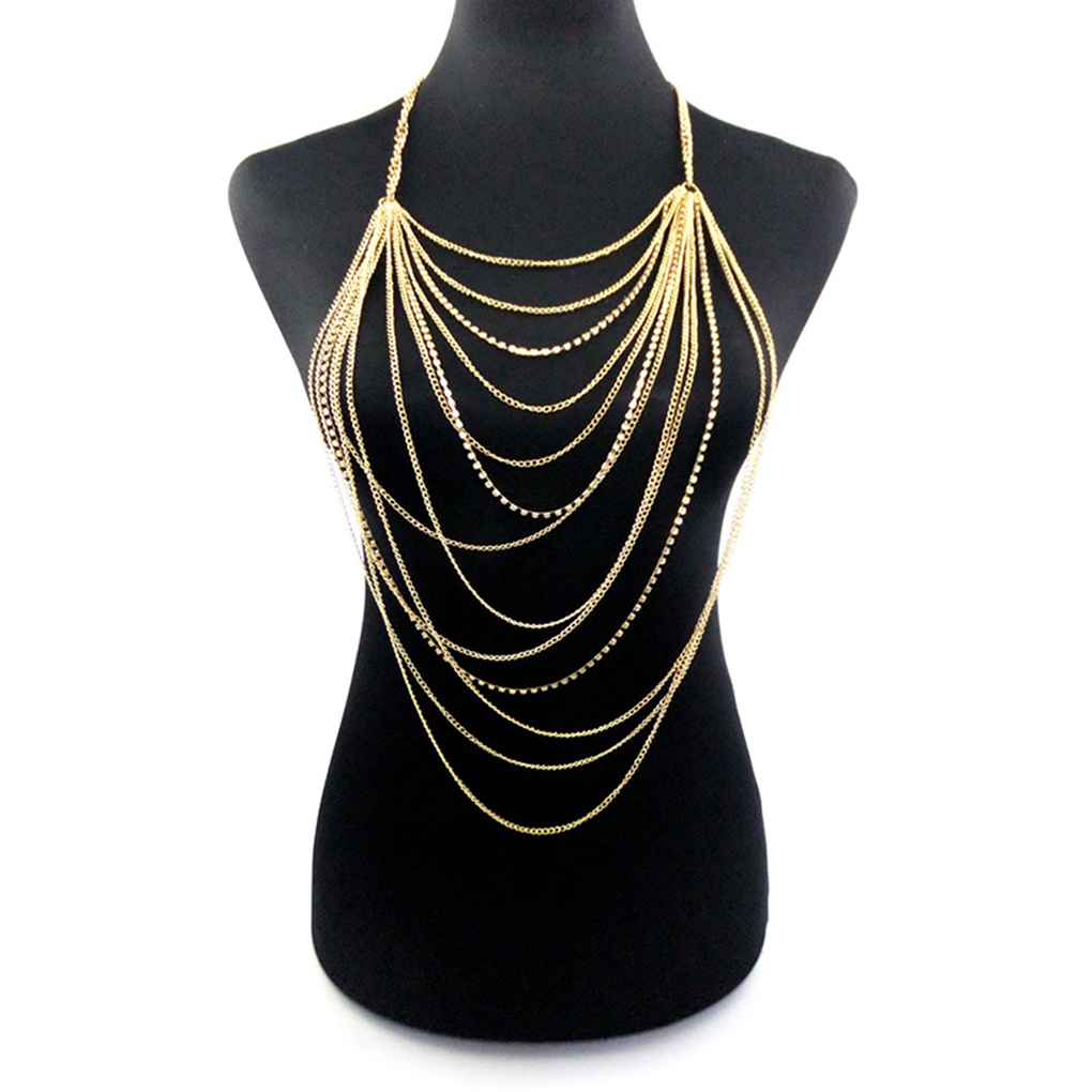 Women <font><b>Sexy</b></font> Tassels Multilayer gold color body chain women statement body Jewelry <font><b>festival</b></font> <font><b>outfit</b></font> boho waists Beach accessories image