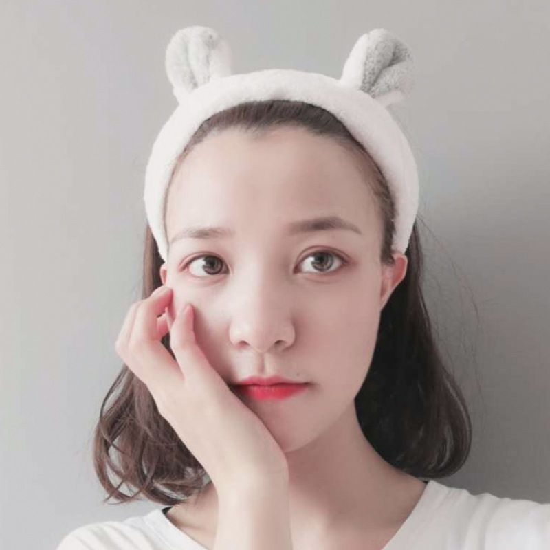 1Pcs Fashion Women Girls Rabbit Ears Hairband Elastic Headdress Heart Shaped Hair Accessories Cotton Makeup Tools