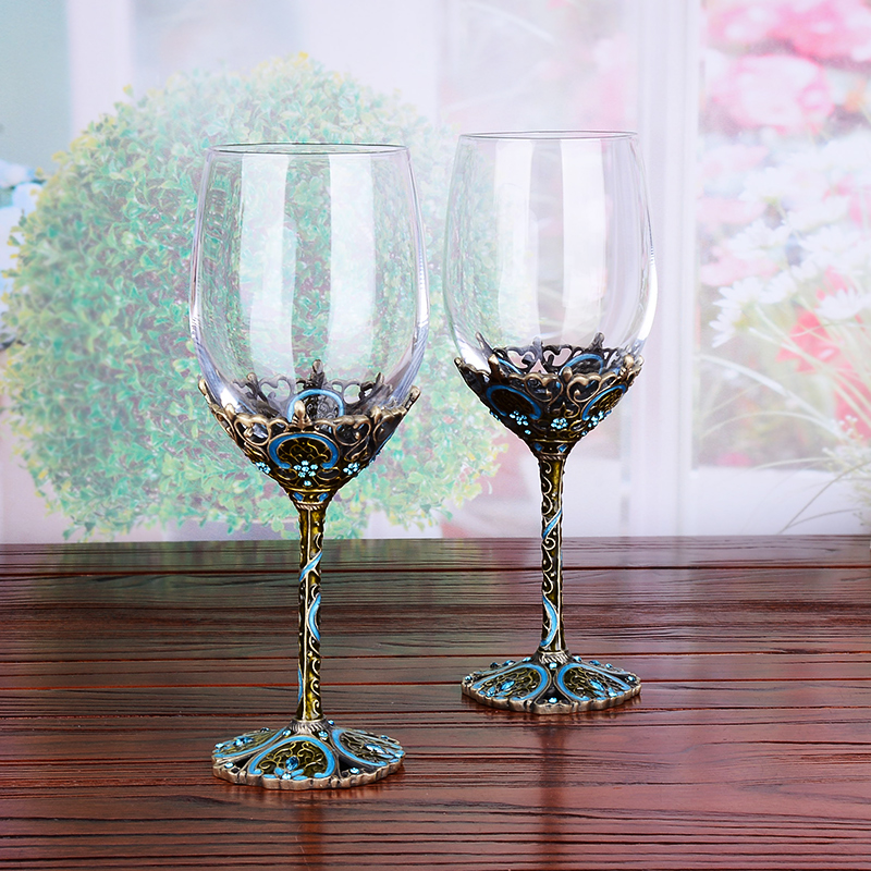 Enamel Metal Red Wine Glass Decanter Set Crystal Goblet Wine Cup Creative Lettering Set Gourd Bottles - 4