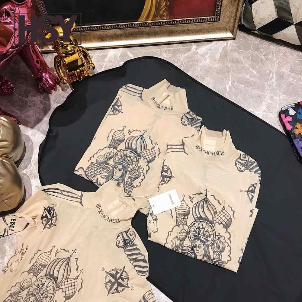 【HSY】2019 סתיו חדש אופנה נשים בסיס למעלה אלת קעקוע הדפסת שרוול ארוך גבוהה הדוק צווארון עירום צבע רשת חוט חולצה