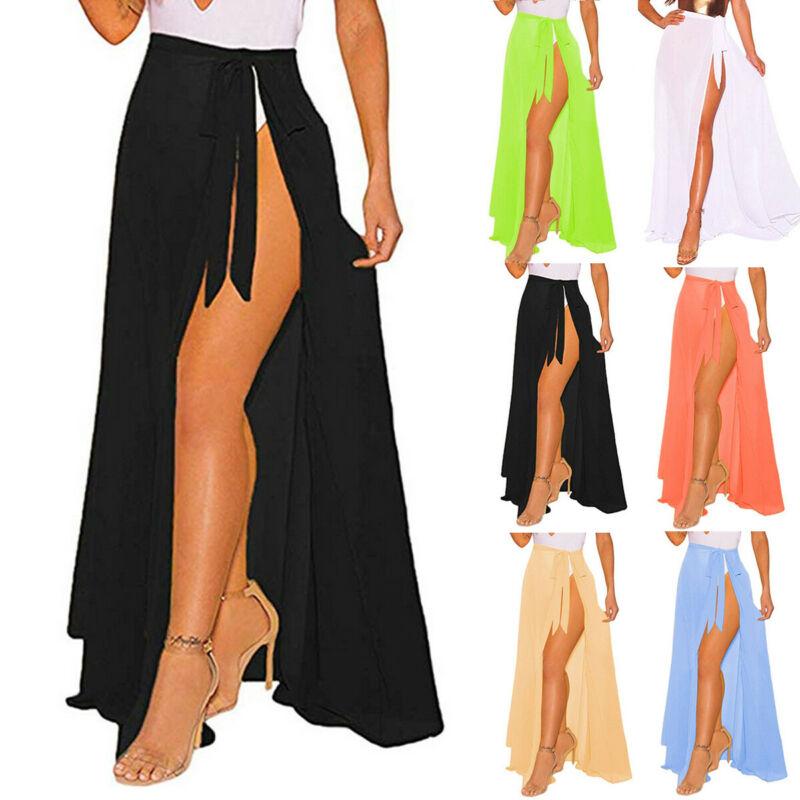 Fashion Women Chiffon Swimwear Pareo Scarf Beach Cover Up Wrap Kaftan Sarong Beach Solid Soft Skirt