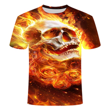 2018 Men Fashion Summer Ultra-clear flame skull Pattern   3D T shirt Printed Short Sleeve Round Neck Slim casual T-shirt hot round neck abstract skull pattern short sleeve t shirt for men