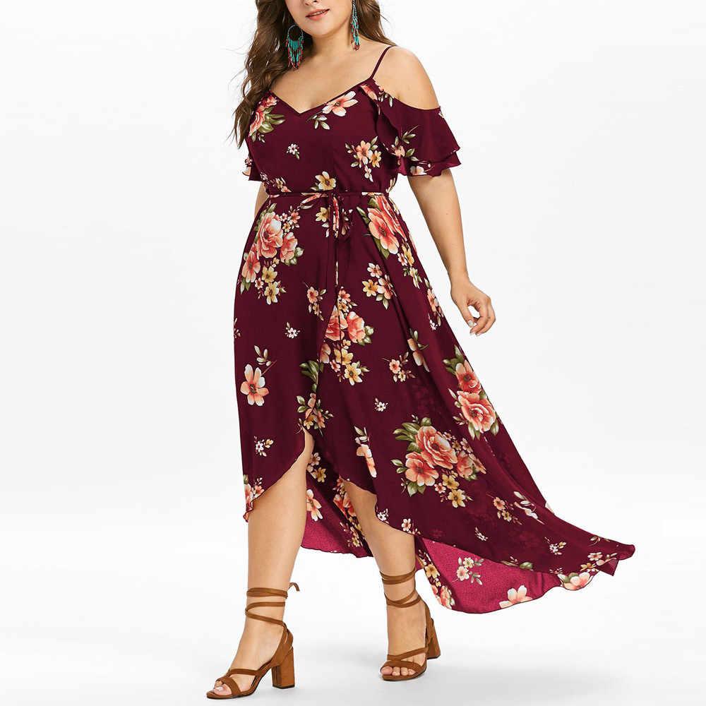 38 # Sukienki Vestidos Ropa Mujer בתוספת גודל נשים שמלה מזדמנים קצר שרוול קר כתף Boho פרח הדפסת ארוך חורף שמלה