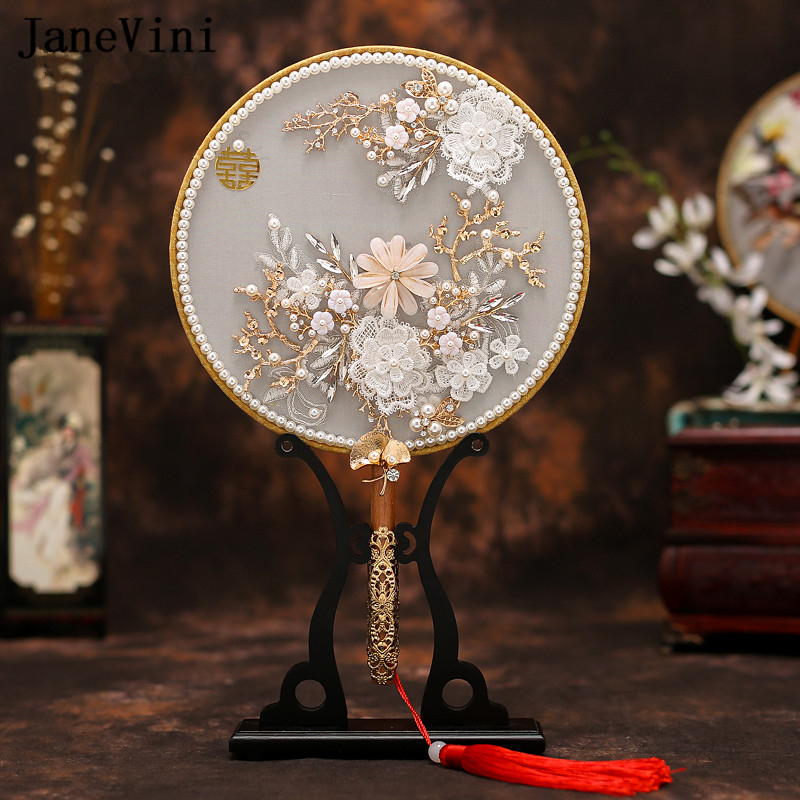 JaneVini Luxury Chinese Jewelry Bridal Fan Bouquets Pearls Appliques Handmade Flowers Metal Round Hand Fan Wedding Accessories