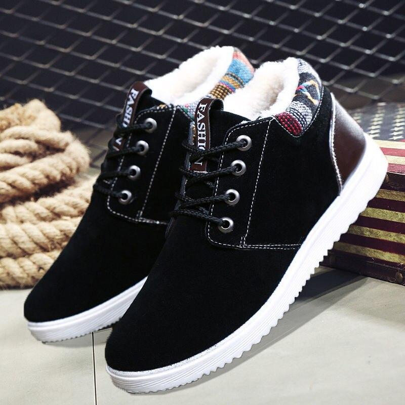 Men Winter Warm Boots Casual Shoes Men Fashion Plush Snow Boots Ankle Boots Fur Leather Footwear 2019