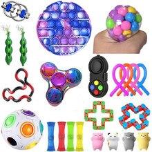 Figet brinquedos anti stress brinquedo conjunto stretchy cordas de mármore alívio presente adultos menina crianças sensoriais antistress alívio brinquedos