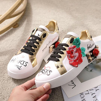 Luxury Woman Snealers Fashion 3d Flowers Women Vulcanized Shoes Ladies Lace up Casual Flats Shoes Breathable Canvas Print Shoes