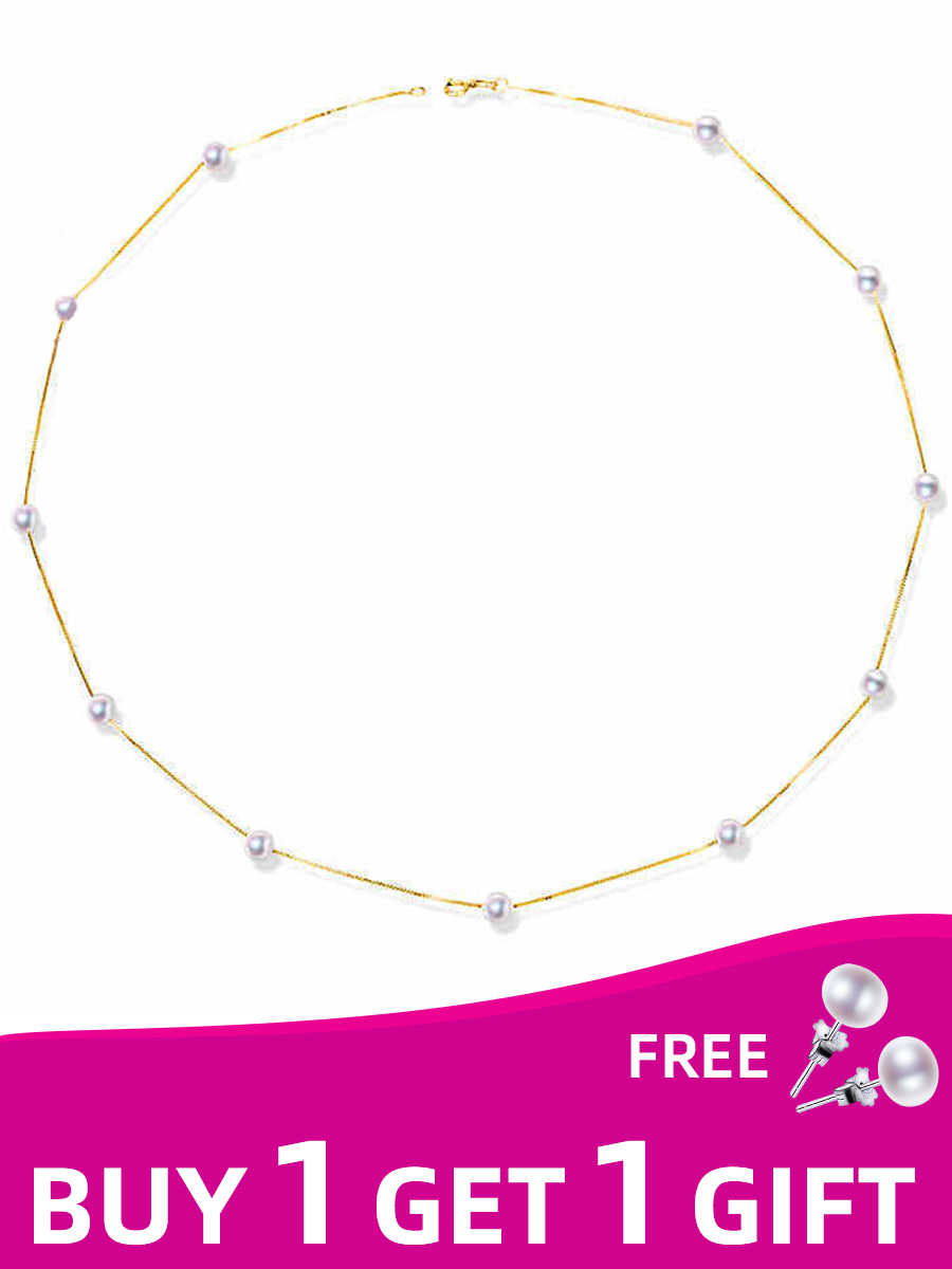 XF800 18K Yellow Gold Natural Freshwater Pearl Necklace Fine Jewelry Best Wedding Gift Bridal Pearl Chains Necklace XFX233