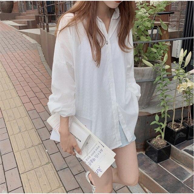 New Vintage Oversize Spring Femme Shirt Casual White Tops Girls Blouse Women Long Sleeve Cotton Plus Size Women Blouses Femme 1