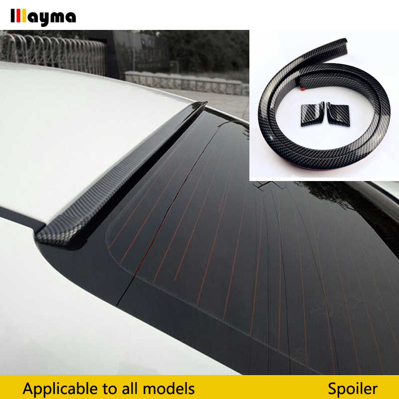 1.5 Meters Universal Fake Carbon Fiber PU Car Rear Roof Spoiler Trunk lip Wing Car Boky kit Trim For BMW E90 E92 F30 F32 F36 F10