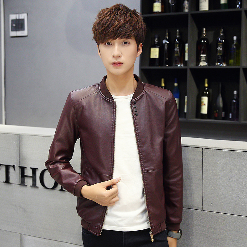 2017 Spring And Autumn Thin Men Baseball Collar Solid Color PU Leather Coat Slim Fit Fashion Leather Jacket