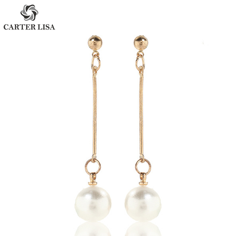 CARTER LISA Vintage Style Long Pearl Statement Drop Dangle Earings For Women Ethnic Bohemian Jewelry Party Wedding Gifts