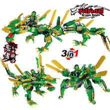 3in1 legoinglys Ninjago Lloyd Montgomery Garmadon Dragon Knight Building Blocks Bricks Ninjago Movie Figure Model Kids Toy Gfit(China)